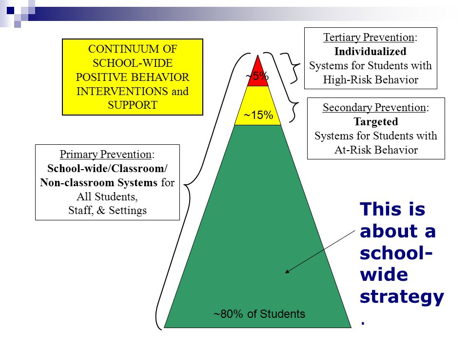 Primary Prevention: School-wide/Classroom/ Non-classroom Systems for All Students, Staff, & Settings Secondary Prevention: Targeted Systems for Studen