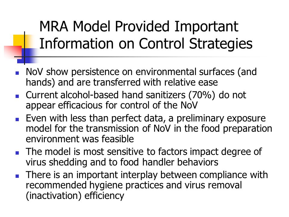 MRA Model Provided Important Information on Control Strategies NoV show persistence on environmental surfaces (and hands) and are transferred with relative ease Current alcohol-based hand sanitizers (70%) do not appear efficacious for control of the NoV Even with less than perfect data, a preliminary exposure model for the transmission of NoV in the food preparation environment was feasible The model is most sensitive to factors impact degree of virus shedding and to food handler behaviors There is an important interplay between compliance with recommended hygiene practices and virus removal (inactivation) efficiency