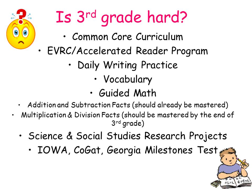 Is 3 rd grade hard? Common Core Curriculum EVRC/Accelerated Reader Program Daily Writing Practice Vocabulary Guided Math Addition and Subtraction Fact