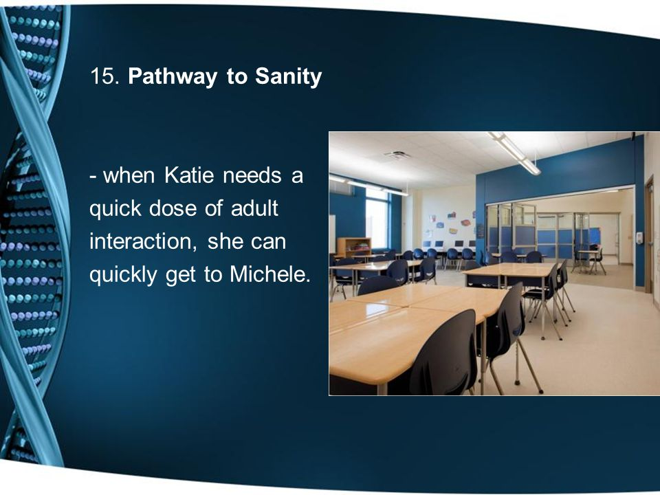 15. Pathway to Sanity - when Katie needs a quick dose of adult interaction, she can quickly get to Michele.