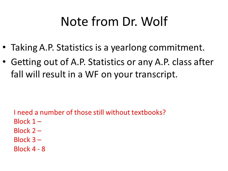 Note from Dr. Wolf Taking A.P. Statistics is a yearlong commitment. Getting out of A.P. Statistics or any A.P. class after fall will result in a WF on