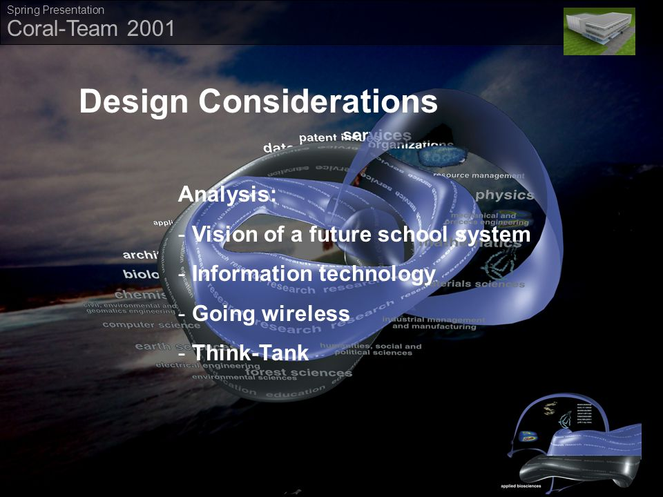` Coral-Team 2001 Spring Presentation Design Considerations Analysis: ­ Vision of a future school system ­ Information technology ­ Going wireless ­ Think-Tank Design Considerations