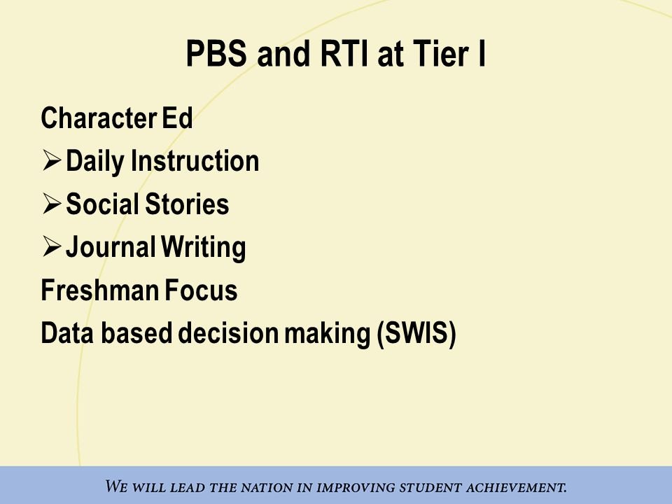 PBS and RTI at Tier I Character Ed  Daily Instruction  Social Stories  Journal Writing Freshman Focus Data based decision making (SWIS)