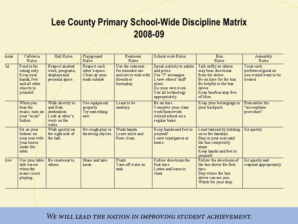 Lee County Primary School-Wide Discipline Matrix 2008-09