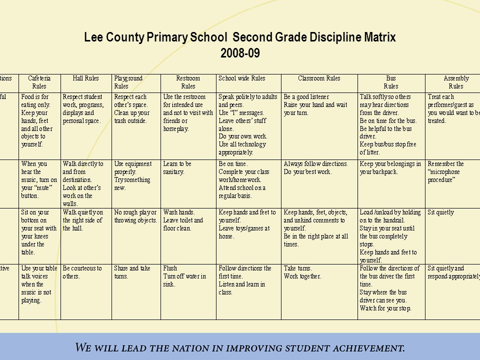 Lee County Primary School Second Grade Discipline Matrix 2008-09