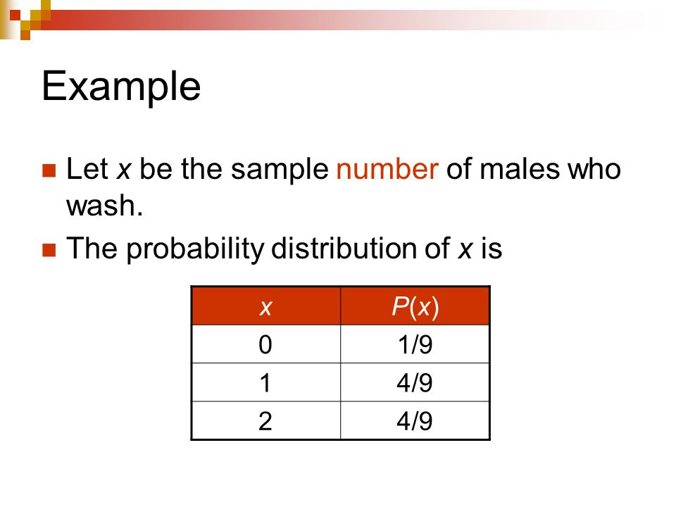 Example Let x be the sample number of males who wash.