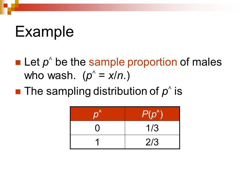 Example Let p ^ be the sample proportion of males who wash.