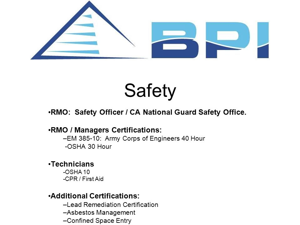 Safety RMO: Safety Officer / CA National Guard Safety Office.