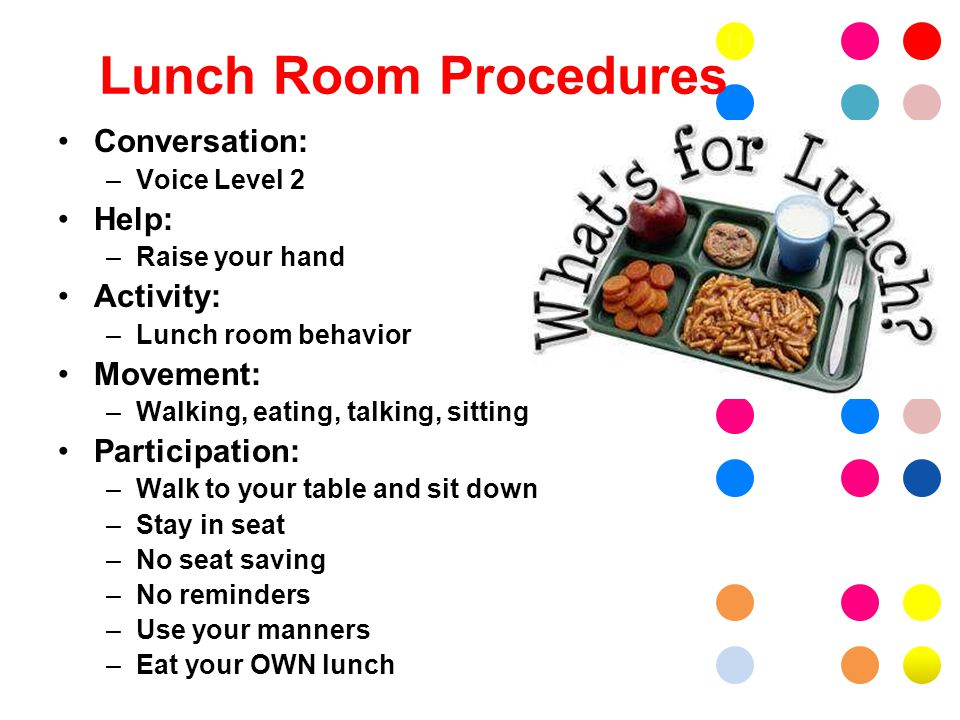 Lunch Room Procedures Conversation: –Voice Level 2 Help: –Raise your hand Activity: –Lunch room behavior Movement: –Walking, eating, talking, sitting Participation: –Walk to your table and sit down –Stay in seat –No seat saving –No reminders –Use your manners –Eat your OWN lunch