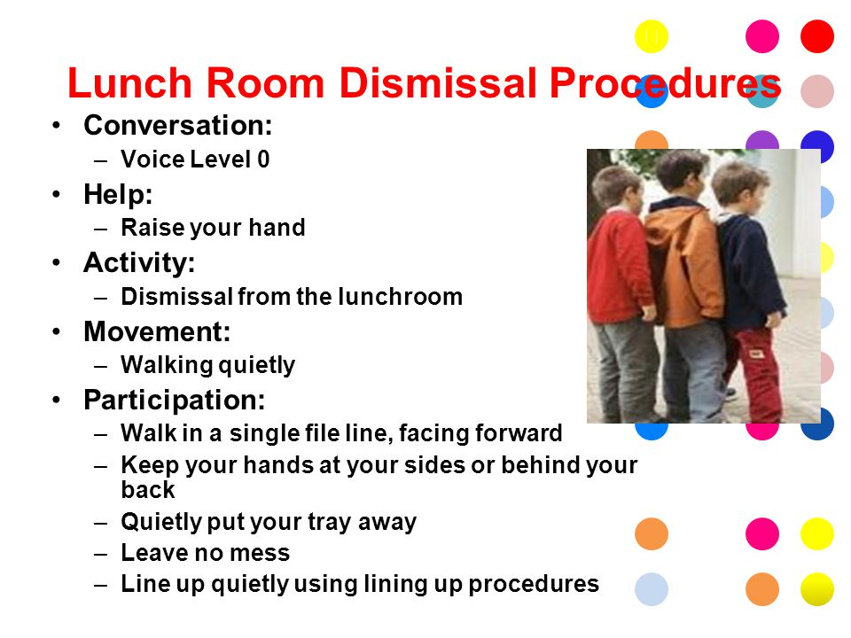 Lunch Room Dismissal Procedures Conversation: –Voice Level 0 Help: –Raise your hand Activity: –Dismissal from the lunchroom Movement: –Walking quietly Participation: –Walk in a single file line, facing forward –Keep your hands at your sides or behind your back –Quietly put your tray away –Leave no mess –Line up quietly using lining up procedures