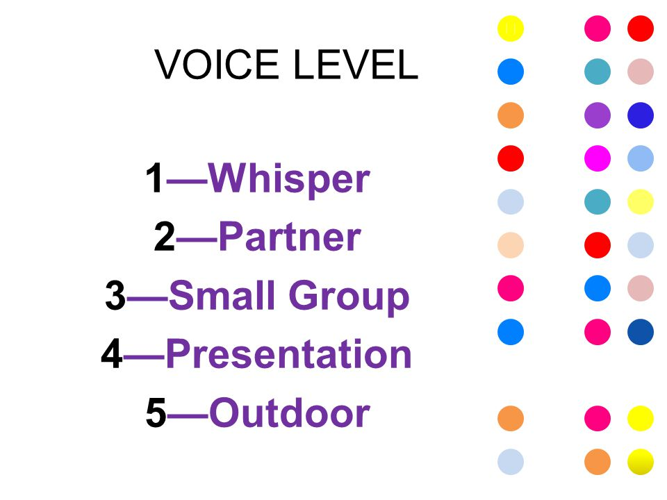 VOICE LEVEL 1—Whisper 2—Partner 3—Small Group 4—Presentation 5—Outdoor