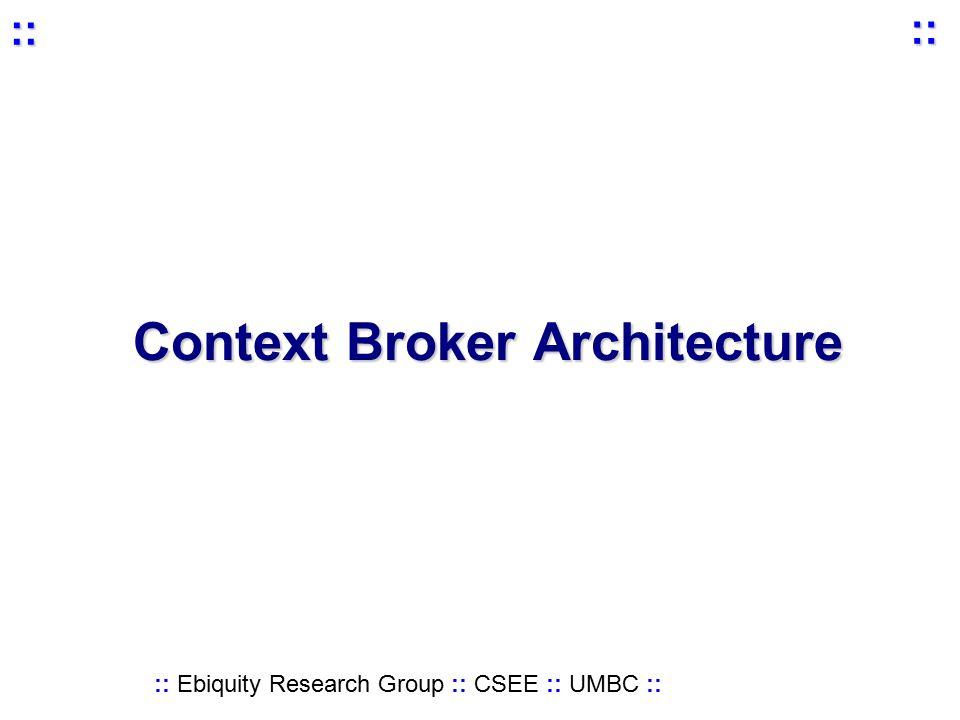 :: Ebiquity Research Group :: CSEE :: UMBC :: :: :: Context Broker Architecture