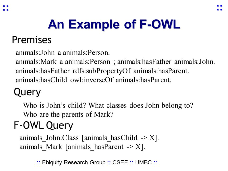 :: Ebiquity Research Group :: CSEE :: UMBC :: :: :: An Example of F-OWL animals:John a animals:Person.