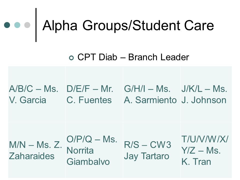 Alpha Groups/Student Care CPT Diab – Branch Leader A/B/C – Ms.