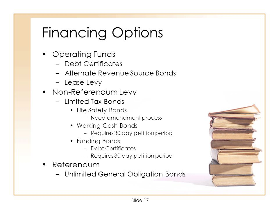 Slide 17 Financing Options Operating Funds –Debt Certificates –Alternate Revenue Source Bonds –Lease Levy Non-Referendum Levy –Limited Tax Bonds Life Safety Bonds –Need amendment process Working Cash Bonds –Requires 30 day petition period Funding Bonds –Debt Certificates –Requires 30 day petition period Referendum –Unlimited General Obligation Bonds