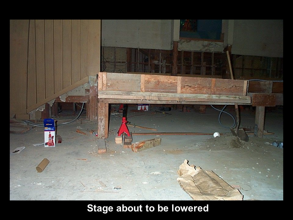 Stage about to be lowered