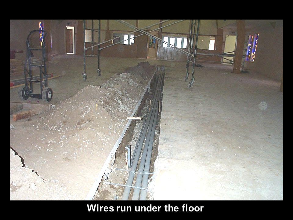 Wires run under the floor