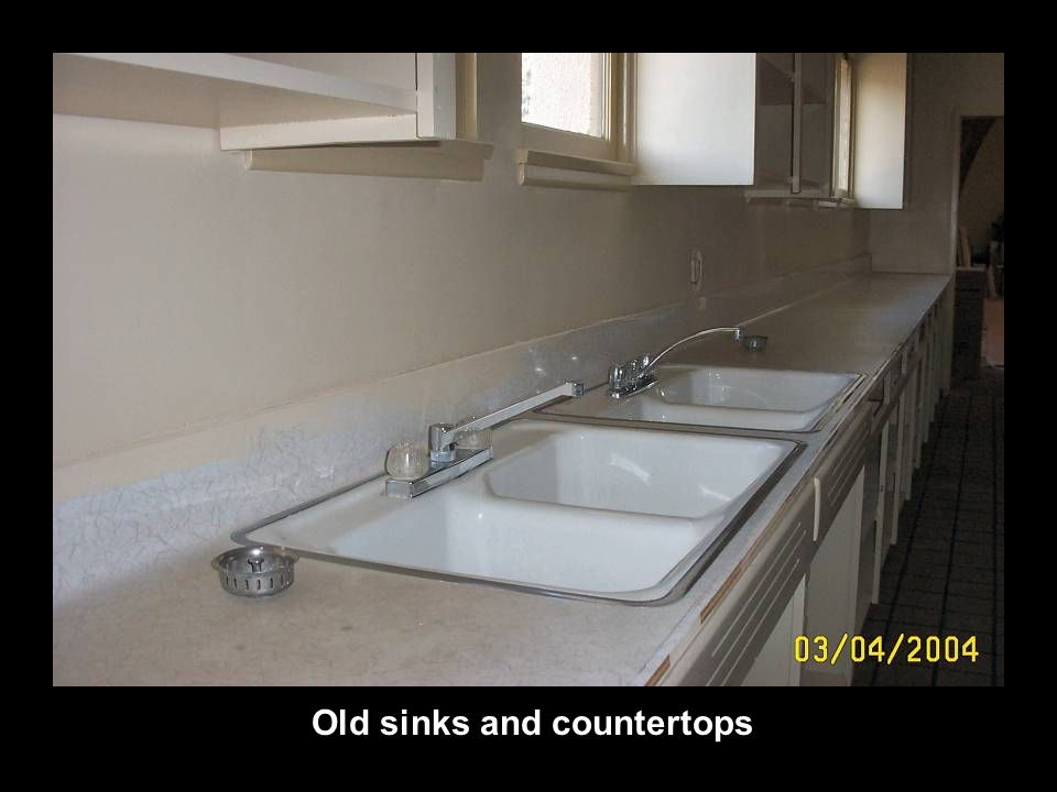 Old sinks and countertops