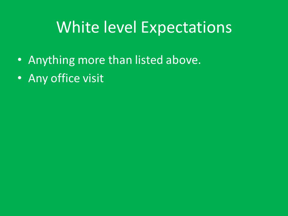 White Level Privileges Regular lunch time 3 minutes passing in the hall Sit where you want before school Regular STAT/ STAT socialization/TA socialization TA socialization Locker, restroom, nurse, counselor, & office with assignment book.