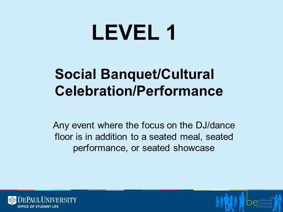 Any event where the focus on the DJ/dance floor is in addition to a seated meal, seated performance, or seated showcase Social Banquet/Cultural Celebr