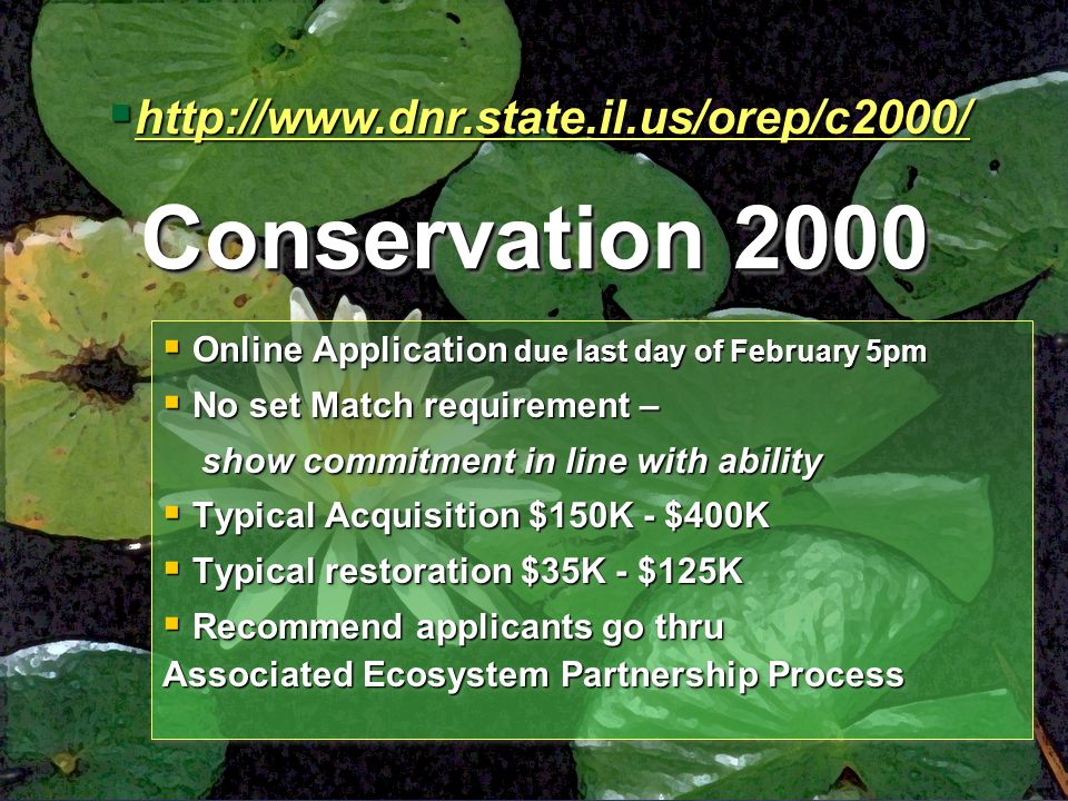 Conservation 2000  Online Application due last day of February 5pm  No set Match requirement – show commitment in line with ability show commitment in line with ability  Typical Acquisition $150K - $400K  Typical restoration $35K - $125K  Recommend applicants go thru Associated Ecosystem Partnership Process  Online Application due last day of February 5pm  No set Match requirement – show commitment in line with ability show commitment in line with ability  Typical Acquisition $150K - $400K  Typical restoration $35K - $125K  Recommend applicants go thru Associated Ecosystem Partnership Process 