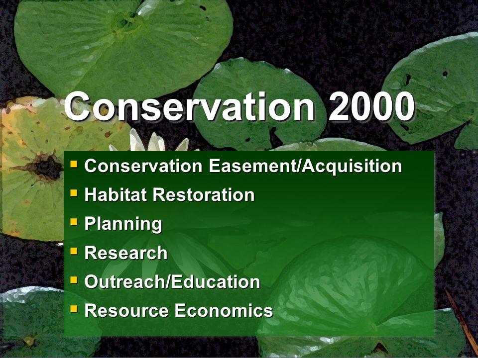 Conservation 2000  Conservation Easement/Acquisition  Habitat Restoration  Planning  Research  Outreach/Education  Resource Economics  Conserva