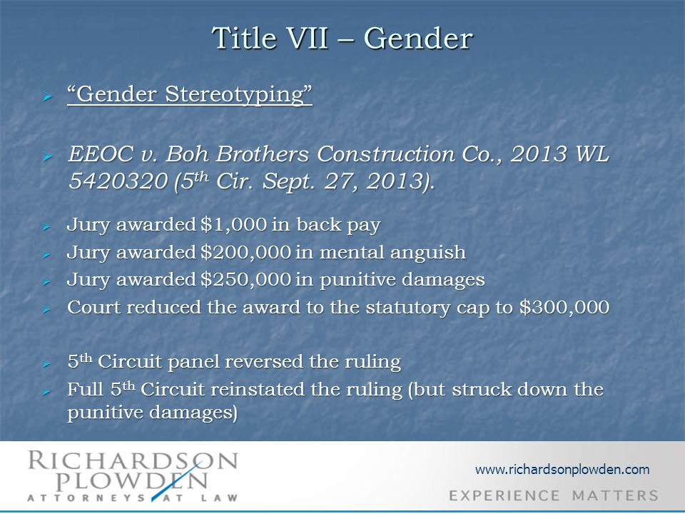 Title VII – Gender  Gender Stereotyping  EEOC v.