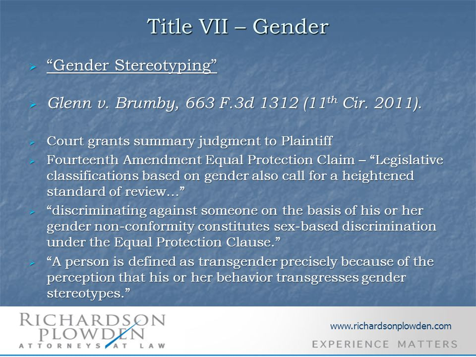 Title VII – Gender  Gender Stereotyping  Glenn v.