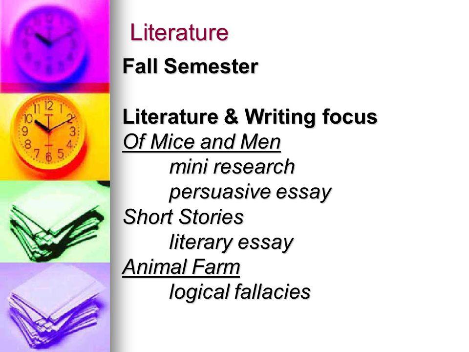 Literature Spring Semester Literature & Writing focus Ender's Game Expository Essay Julius Caesar Research Project