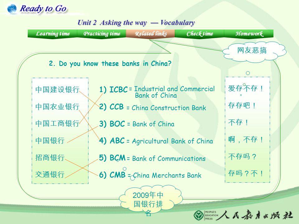 Unit 2 Asking the way — Vocabulary 中国建设银行 中国农业银行 中国工商银行 中国银行 招商银行 交通银行 2. Do you know these banks in China? 1) ICBC 2) CCB 3) BOC 4) ABC 5) BCM 6) CMB