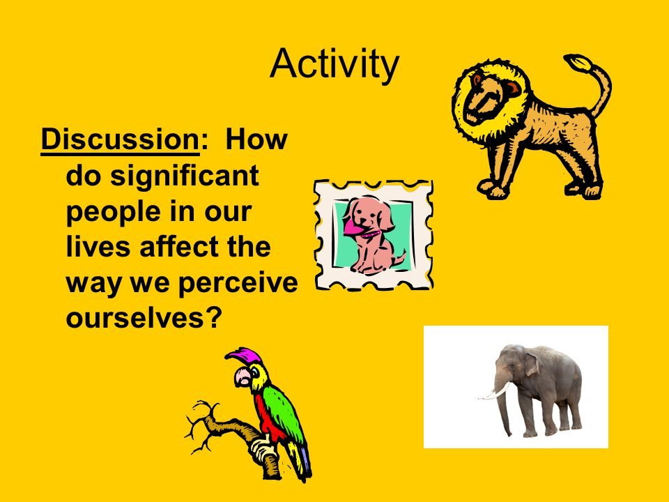 Activity Discussion: How do significant people in our lives affect the way we perceive ourselves