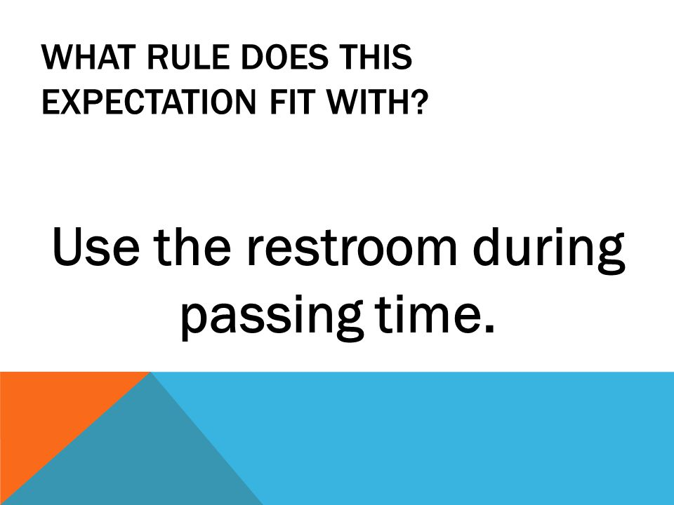 WHAT RULE DOES THIS EXPECTATION FIT WITH Use the restroom during passing time.