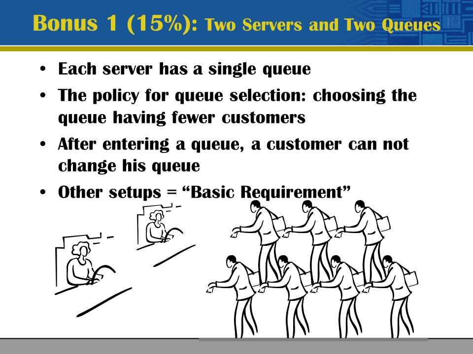 Single queue Inter-arrival and service time: normal distribution (<0) A staff would go to the restroom Single restroom (service time: exponential distribution) Single queue for the restroom: a staff needs to line up while the washroom is busy Bonus 2 (20%): G/G/2 + restroom events