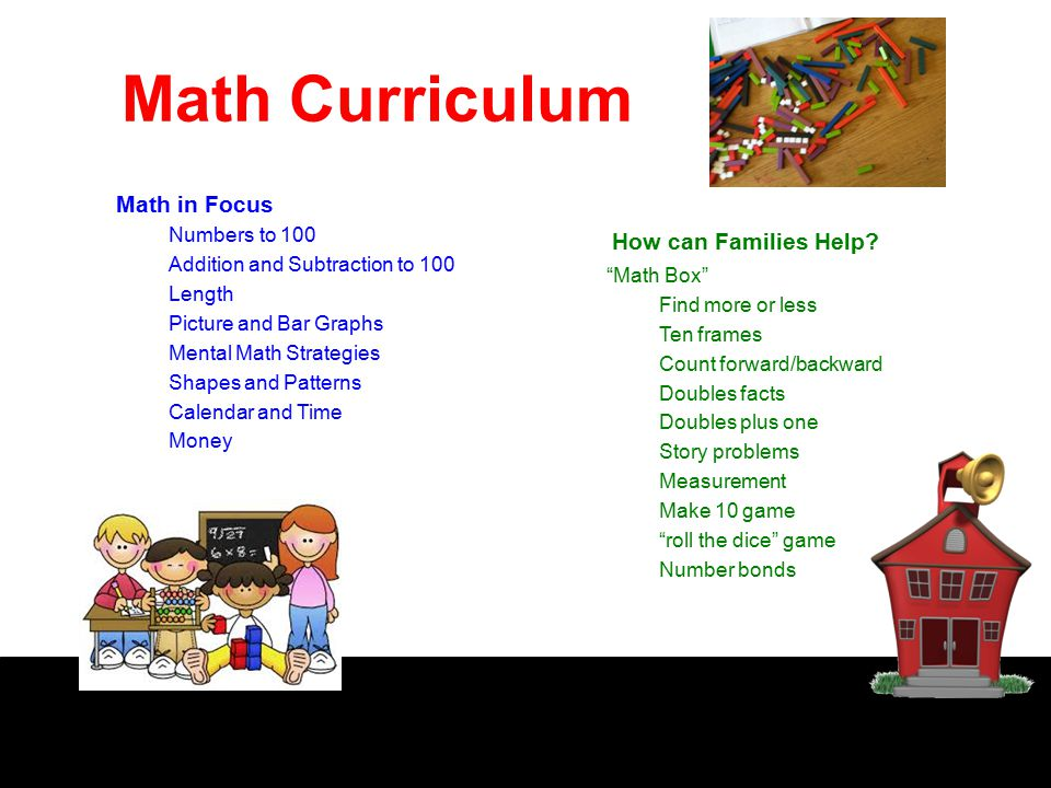 Math Curriculum Math in Focus Numbers to 100 Addition and Subtraction to 100 Length Picture and Bar Graphs Mental Math Strategies Shapes and Patterns