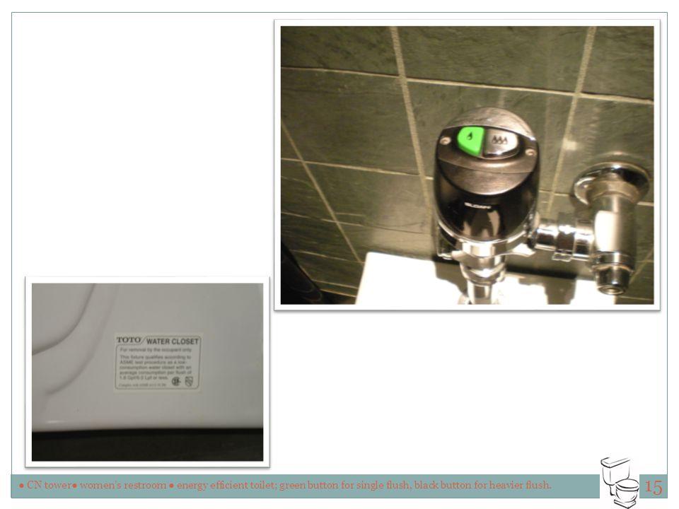 ● CN tower● women's restroom ● energy efficient toilet; green button for single flush, black button for heavier flush.