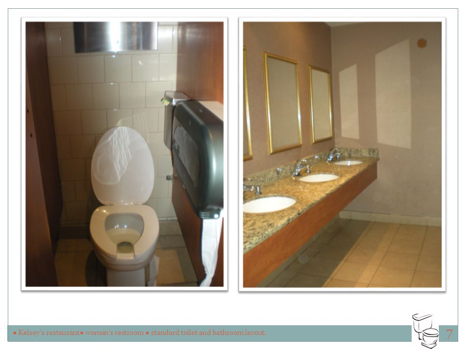 7 ● Kelsey's restaurant● women's restroom ● standard toilet and bathroom layout.