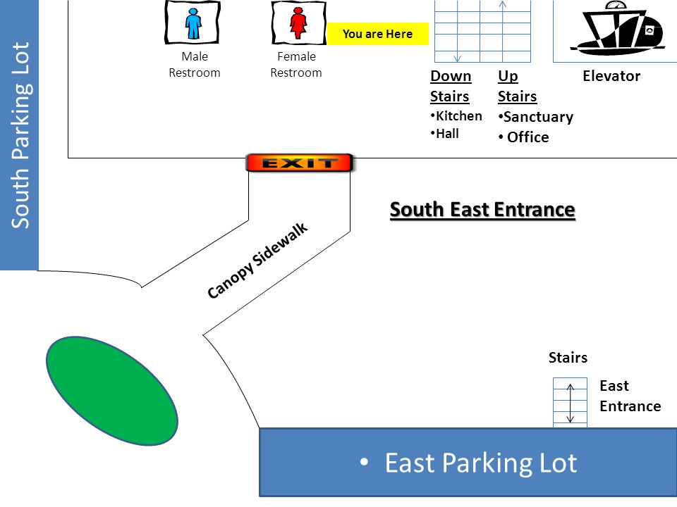 East Parking Lot South Parking Lot East Entrance Stairs Elevator Canopy Sidewalk Up Stairs Sanctuary Office Down Stairs Kitchen Hall Female Restroom Male Restroom South East Entrance You are Here