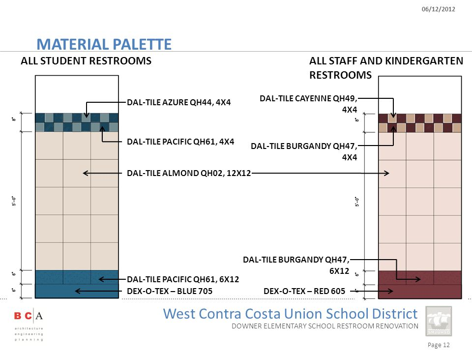 Page 12 West Contra Costa Union School District 06/12/2012 DOWNER ELEMENTARY SCHOOL RESTROOM RENOVATION MATERIAL PALETTE DEX-O-TEX – BLUE 705 ALL STUDENT RESTROOMSALL STAFF AND KINDERGARTEN RESTROOMS DEX-O-TEX – RED 605 DAL-TILE PACIFIC QH61, 6X12 DAL-TILE BURGANDY QH47, 6X12 DAL-TILE ALMOND QH02, 12X12 DAL-TILE PACIFIC QH61, 4X4 DAL-TILE AZURE QH44, 4X4 DAL-TILE BURGANDY QH47, 4X4 DAL-TILE CAYENNE QH49, 4X4