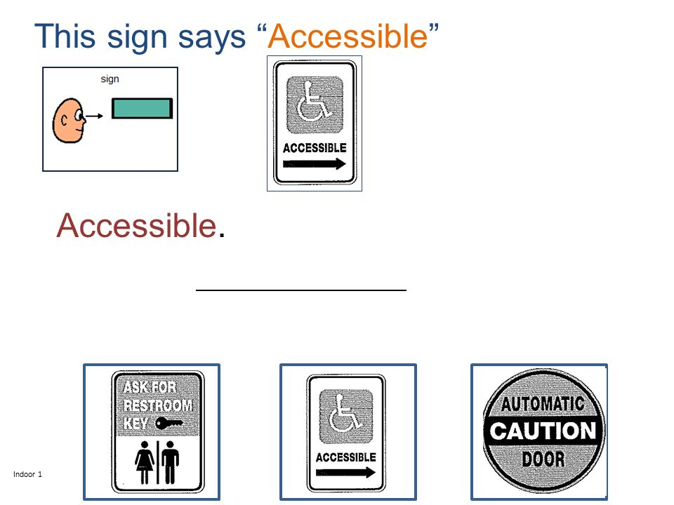 This sign says Accessible Indoor 1 _________________________ Accessible.