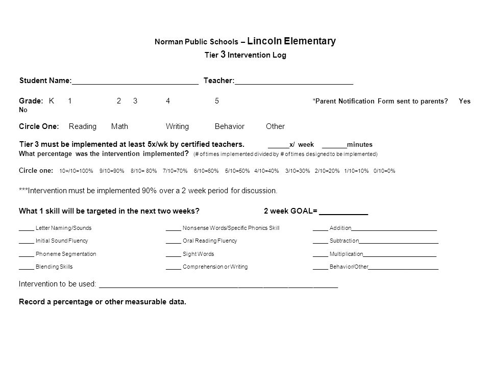 Norman Public Schools – Lincoln Elementary Tier 3 Intervention Log Student Name:_______________________________ Teacher:_____________________________ Grade: K *Parent Notification Form sent to parents.