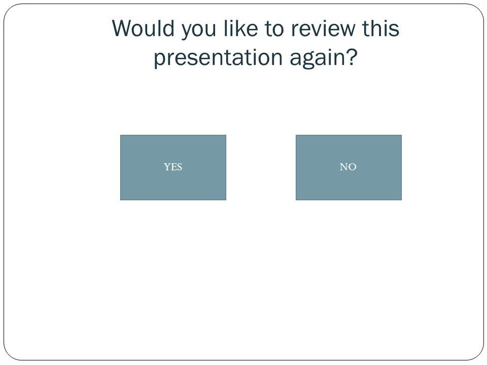 Would you like to review this presentation again? NOYES