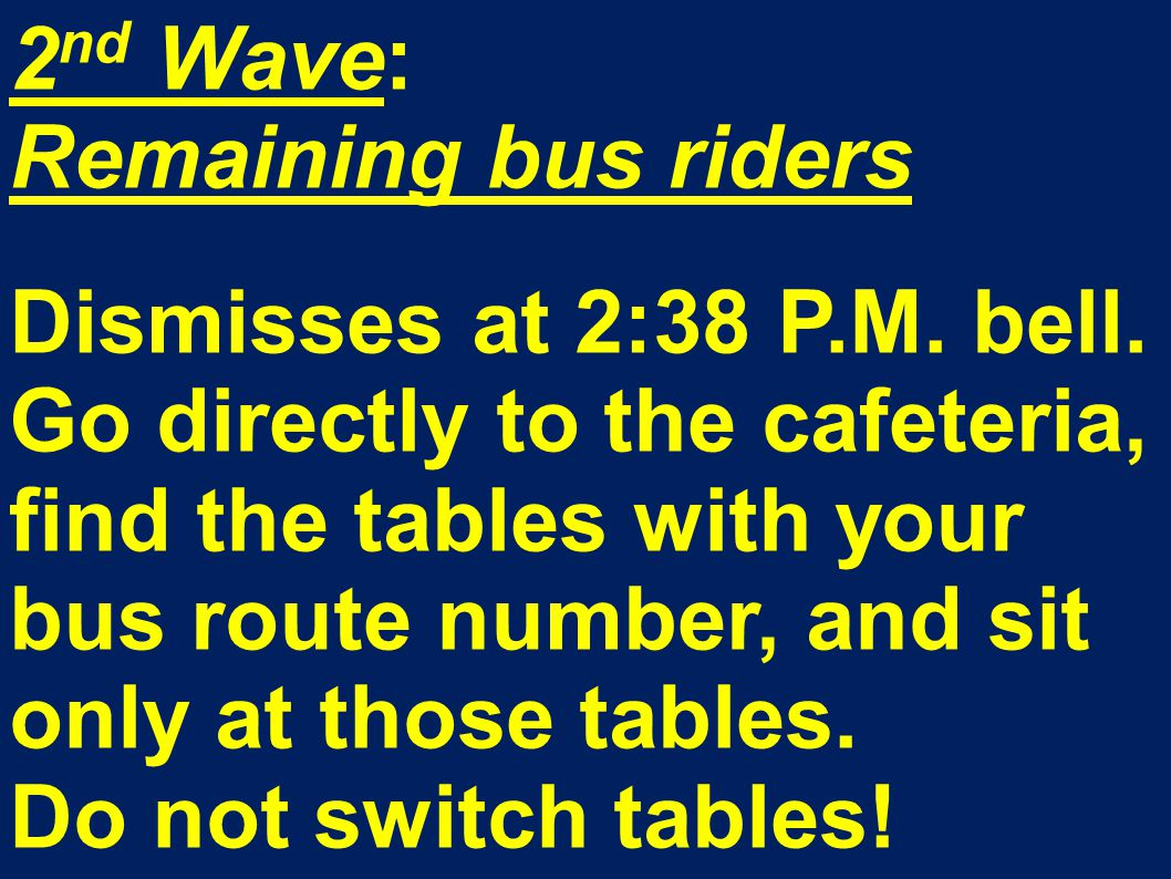 2 nd Wave: Remaining bus riders Dismisses at 2:38 P.M.