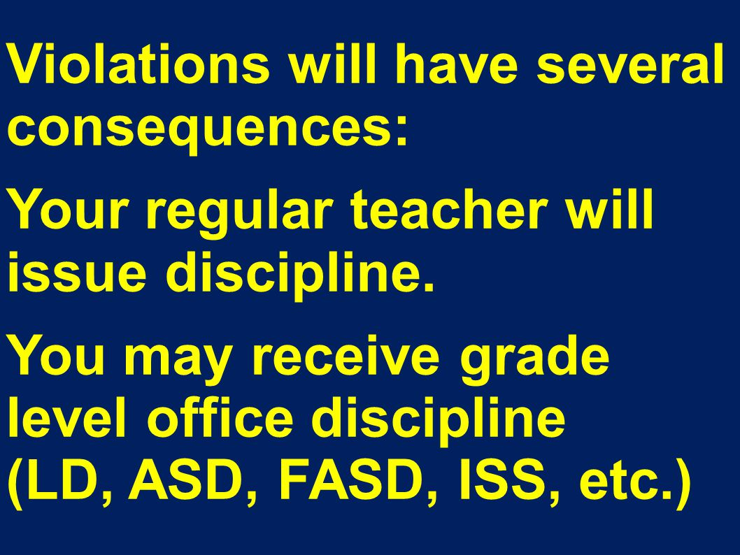 Violations will have several consequences: Your regular teacher will issue discipline.