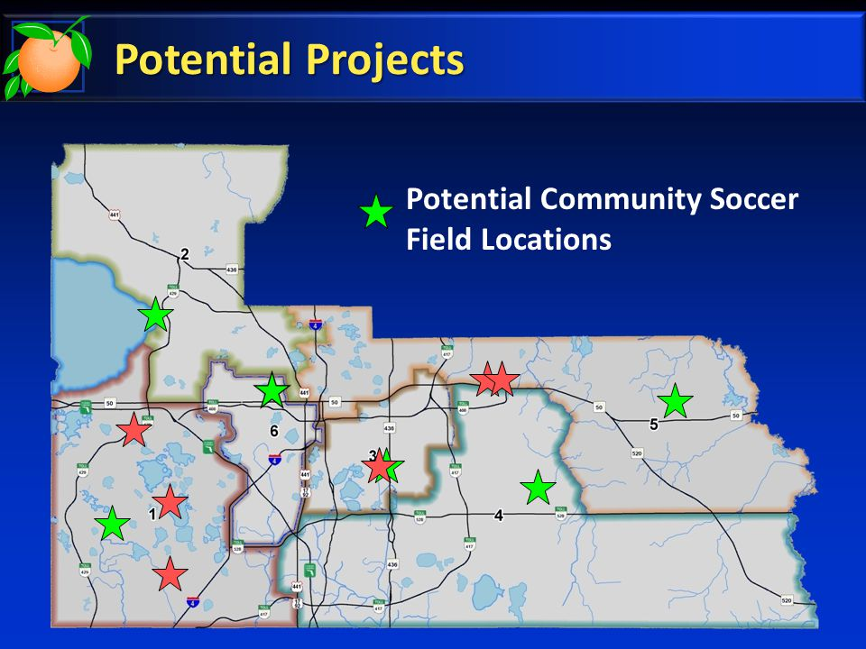 Potential Projects Potential Community Soccer Field Locations