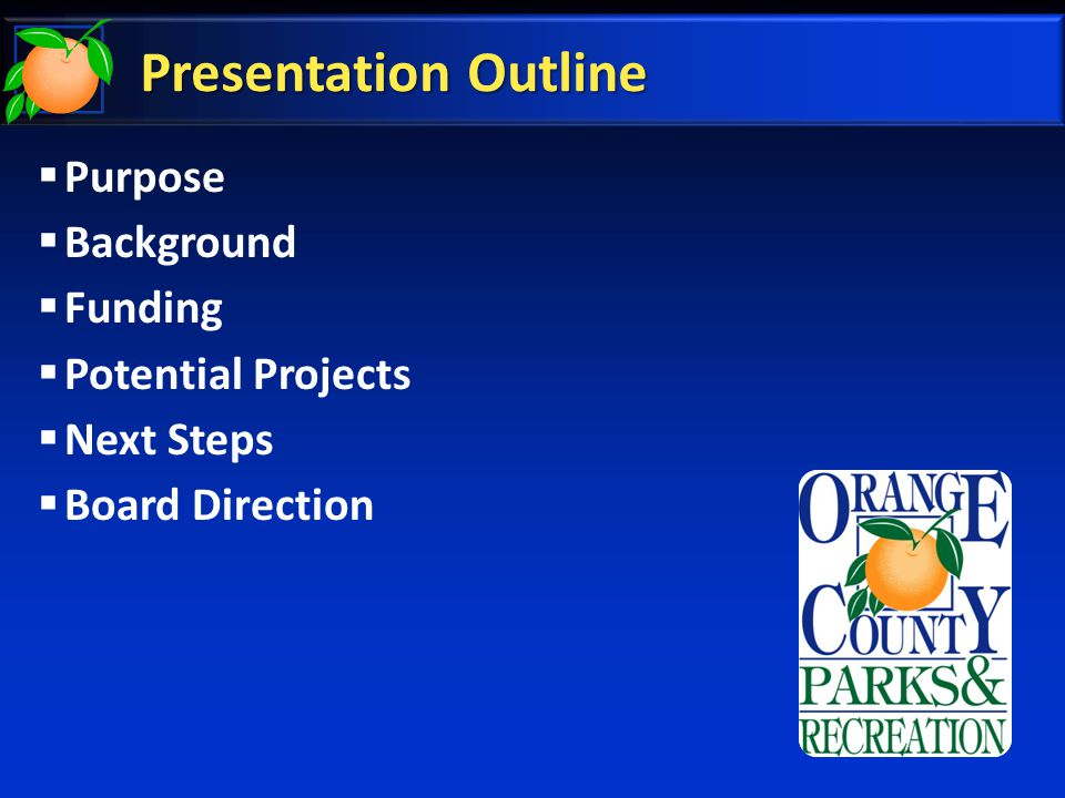 Presentation Outline  Purpose  Background  Funding  Potential Projects  Next Steps  Board Direction