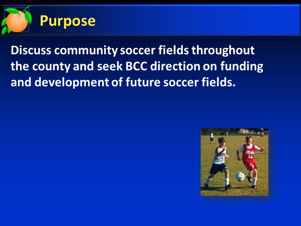 Potential Projects Proposed Community Soccer Fields Barnett Park  Located in Pine Hills Community  County owns 159 acres  Construct 1 field, lights, restroom, and infrastructure  Development Cost: $260k - $470k