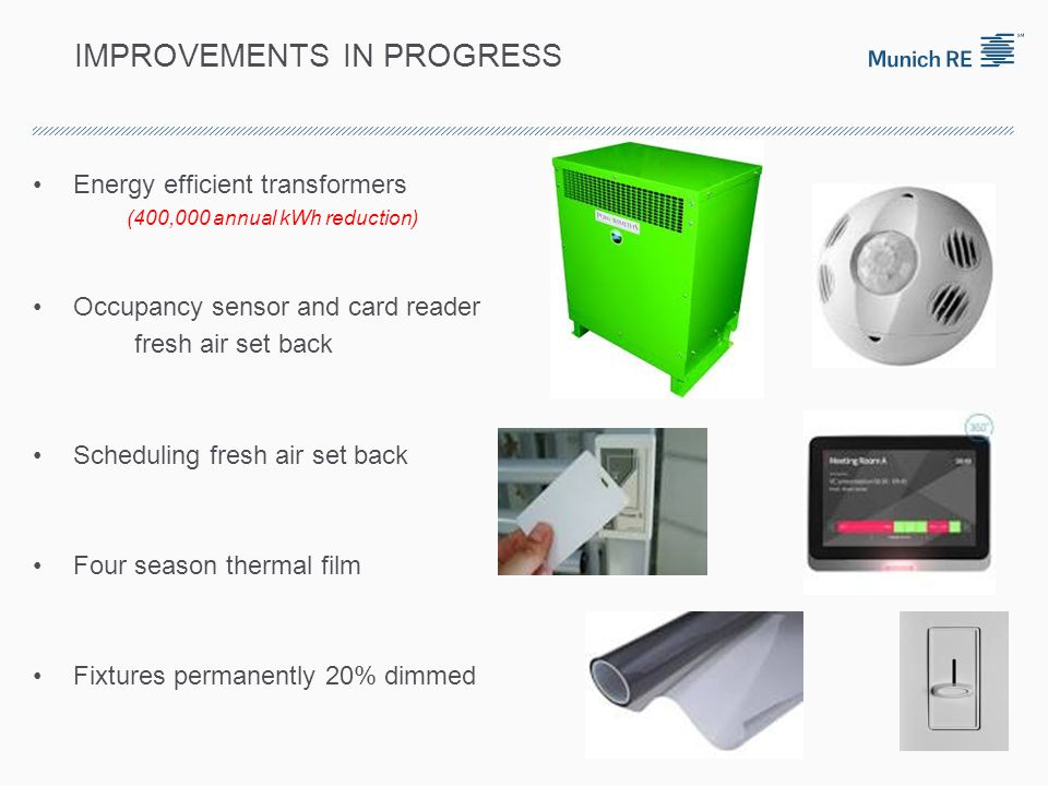 IMPROVEMENTS IN PROGRESS Energy efficient transformers (400,000 annual kWh reduction) Occupancy sensor and card reader fresh air set back Scheduling fresh air set back Four season thermal film Fixtures permanently 20% dimmed