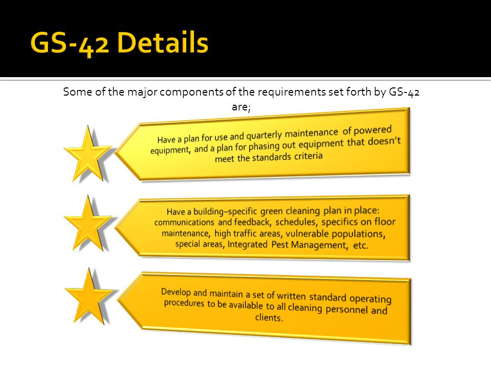 Some of the major components of the requirements set forth by GS-42 are;