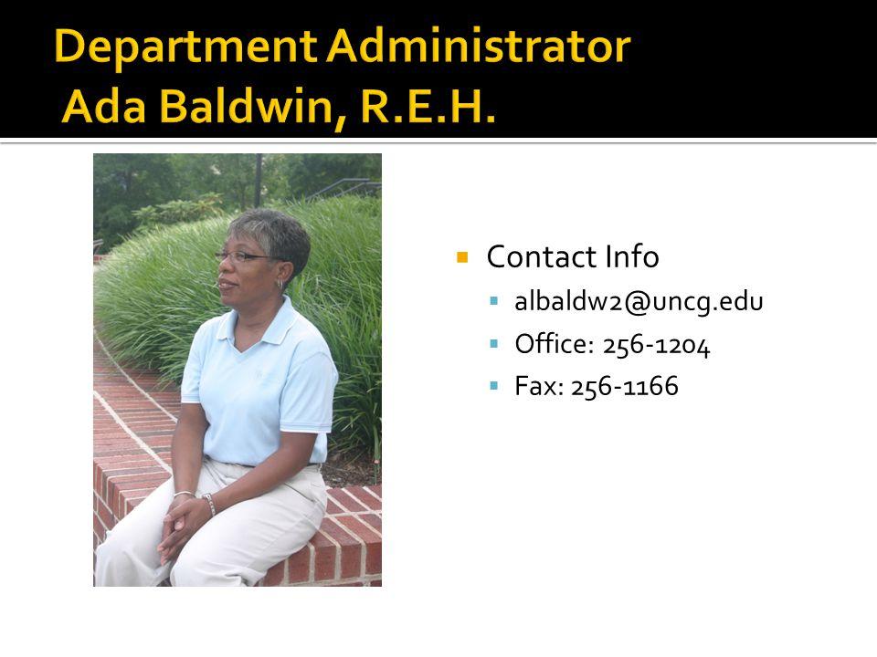 Contact Info  albaldw2@uncg.edu  Office: 256-1204  Fax: 256-1166