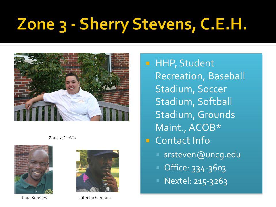  HHP, Student Recreation, Baseball Stadium, Soccer Stadium, Softball Stadium, Grounds Maint., ACOB*  Contact Info  srsteven@uncg.edu  Office: 334-3603  Nextel: 215-3263  HHP, Student Recreation, Baseball Stadium, Soccer Stadium, Softball Stadium, Grounds Maint., ACOB*  Contact Info  srsteven@uncg.edu  Office: 334-3603  Nextel: 215-3263 Zone 3 GUW's John RichardsonPaul Bigelow
